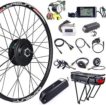 Bafang Kit de conversión de Bicicleta, 48 V, 500 W, Motor de buje Trasero para Bicicleta, 20 Pulgadas, 26 Pulgadas, 27.5 Pulgadas, Kit de Rueda Trasera 700C con Pantalla Pas LCD y