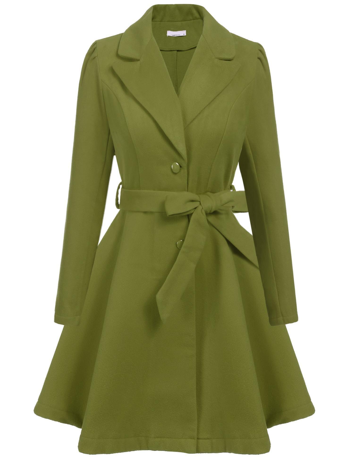 ELESOL Women's British Style Elegant Jacket Notched Lapel Long Trench Coat Green/XL