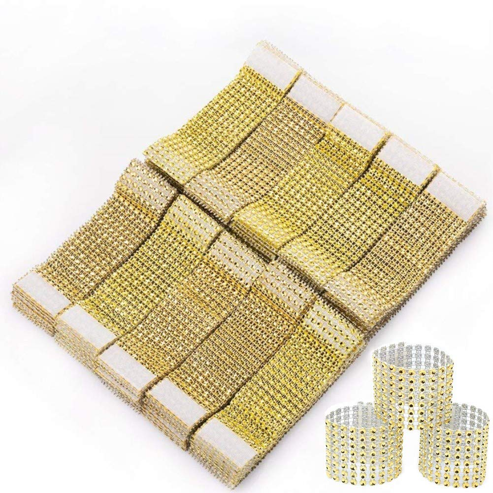 50pcs Rhinestone Napkin Rings, 5 x 1.6inch Gold Glitter Chair Sash Bows Holder, for Wedding Decoration, Birthday Party, Banquet Supply Devbor