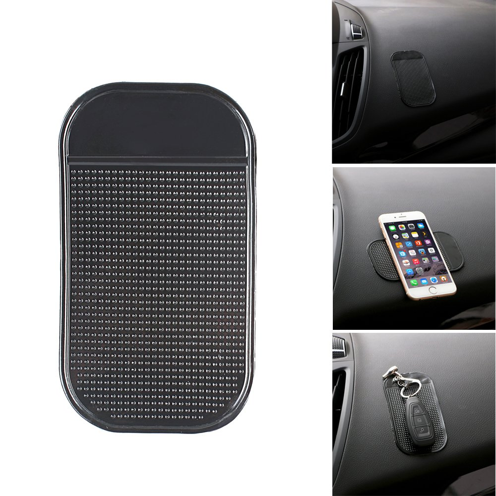 Keys,Glass Whiteboards Bysameyee Anti-Slide Fixate Sticky Mat for Car Dashboard Metal Pad Mirrors Black, 5 Packs Silica Gel Non-Slip Pads for Radar Detector Cellphone Anti-Slip Pad