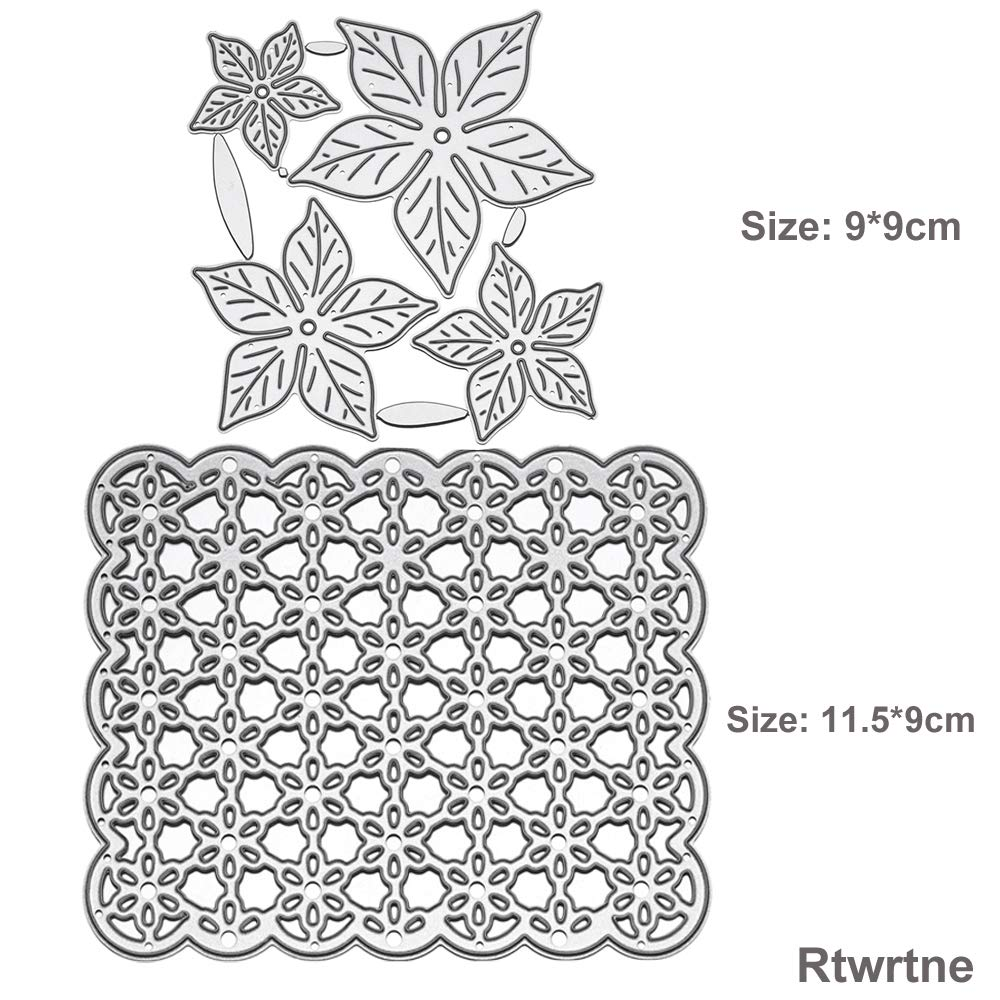 Cutting Dies,Poinsettia Flower Shape and Flower Background Cutting Dies for Card Making,Embossing Stencil Die DIY Scrapbooking Photo Templates for Album