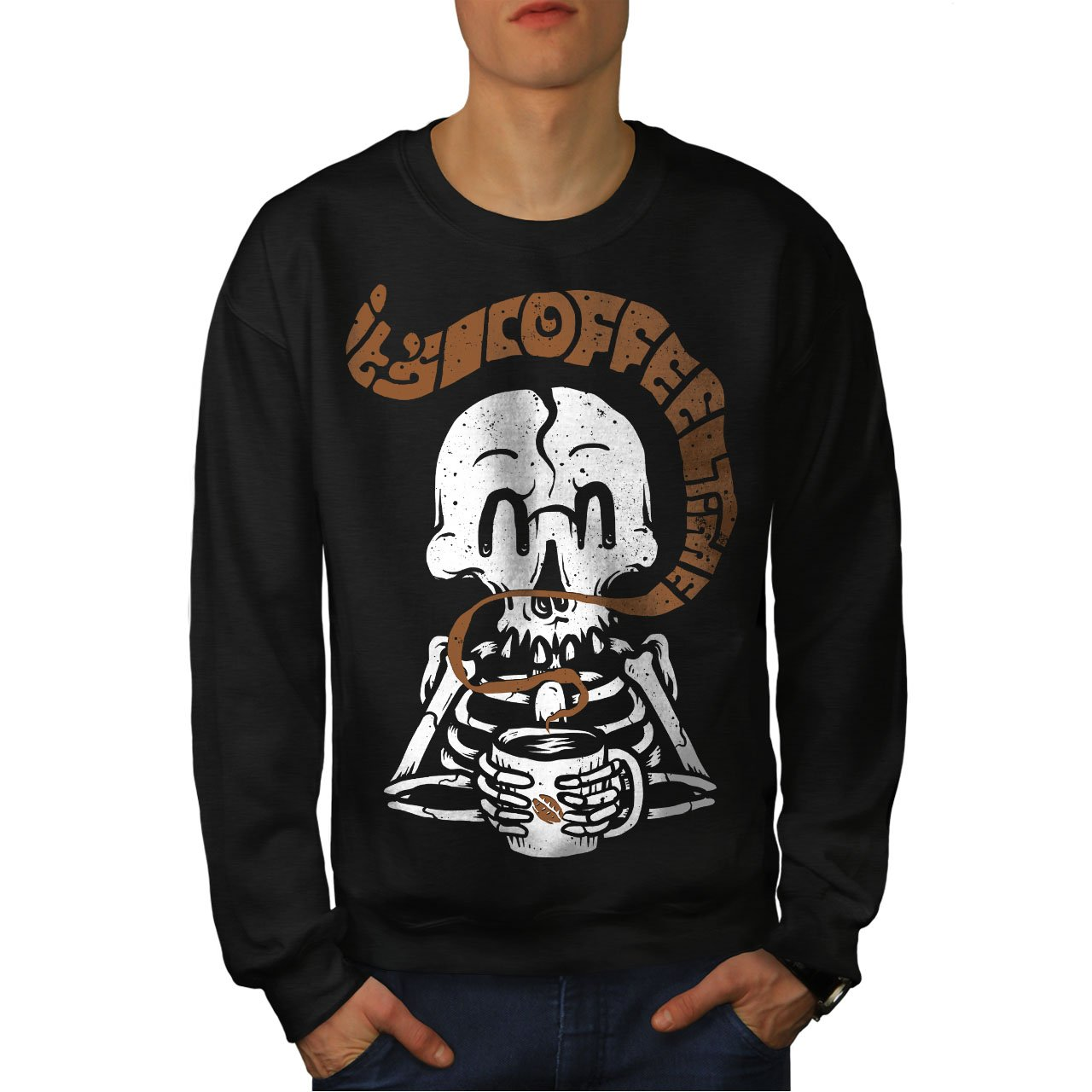 wellcoda Skeleton Coffee Mens Sweatshirt Cute Casual Jumper