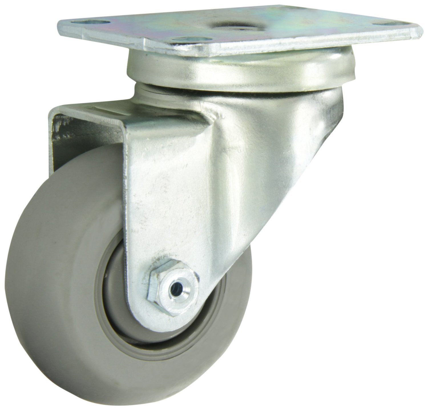 Albion 04XR03028S 3'' Diameter X-tra Soft Rubber Wheel Light Duty Stainless Steel Swivel Plate Caster, Round Tread, Precision Ball Bearing, 3-5/8'' Length x 2-1/2'' Width Base Plate, 200 lb. Capacity