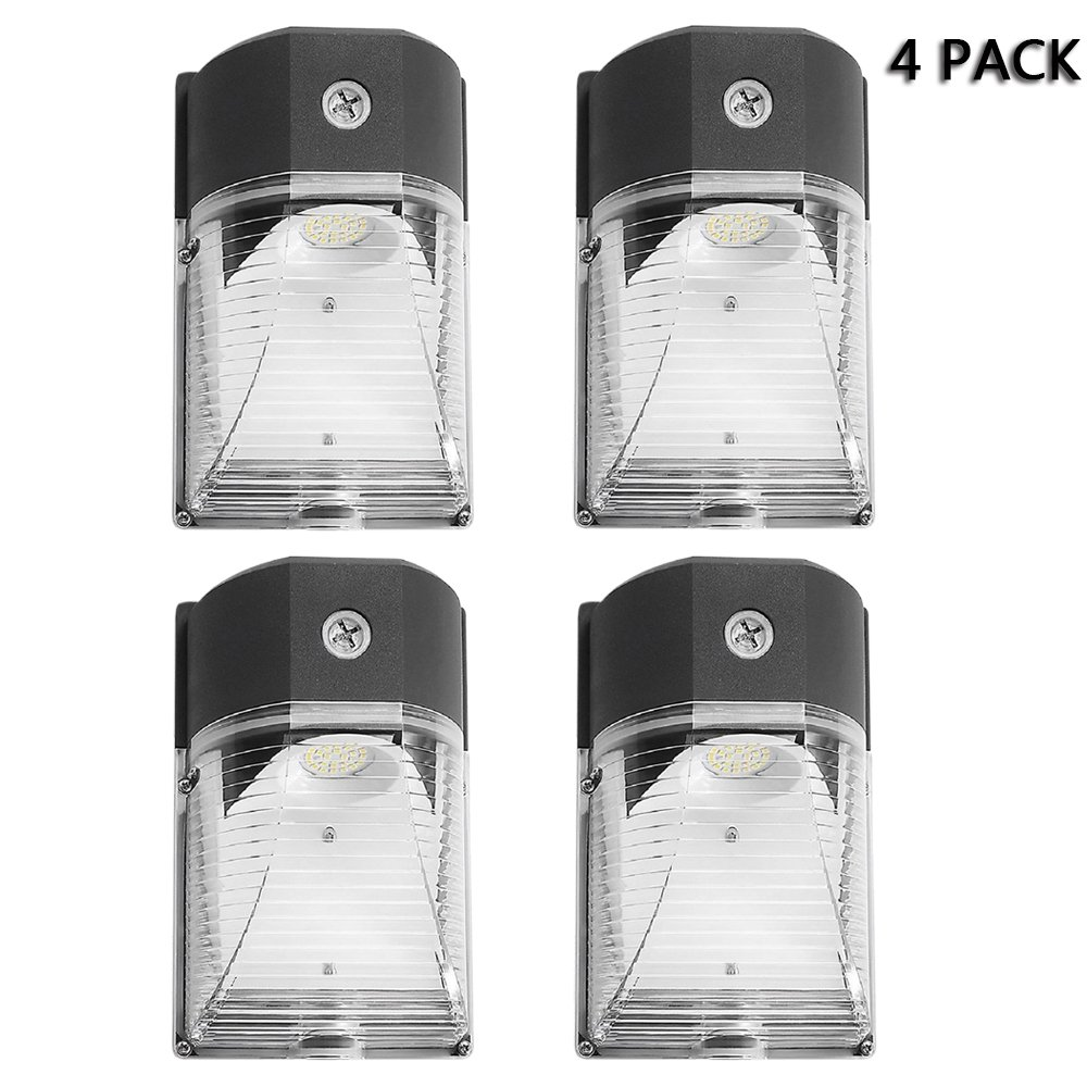 Cinoton LED Wall Pack Light,26W 3000lm (Dusk-to-dawn Photocell,Waterproof IP65), 100-277Vac,150-250W MH/HPS Replacement,Outdoor Security Lighting (5000K, 4PACK)