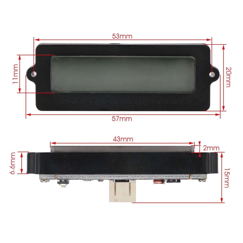 DROK Battery Meter, Blue Back-Light LCD Battery Capacity Monitor DC 8-63V Digital Battery Tester Automotive, Lithium ion Battery Electric Quantity Detector 12V 24V 36V 48V Lead Acid Battery Status by DROK (Image #7)