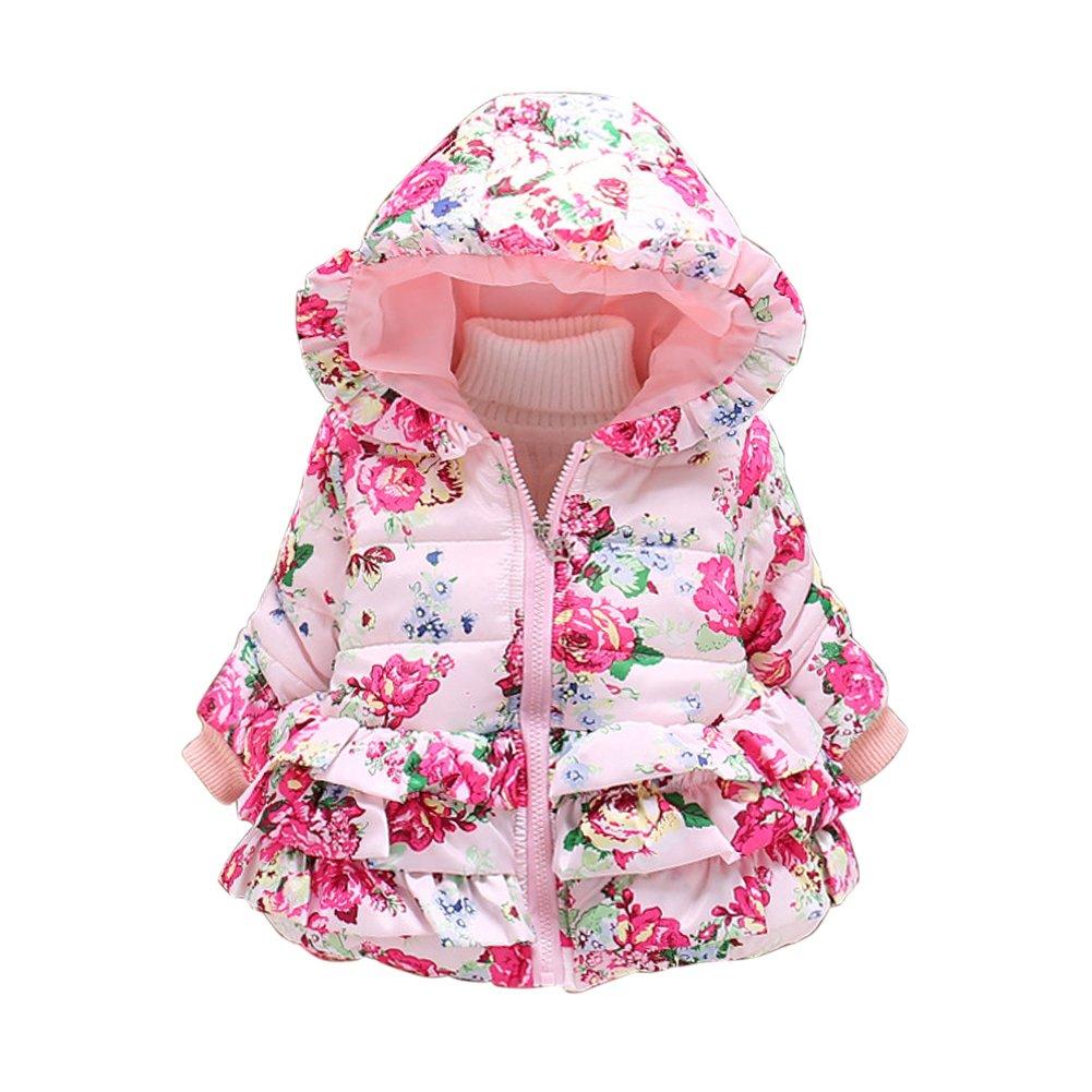 CHIC-CHIC Manteau Hiver Enfant Bébé Fille Floral Imprimé Parka Down Manteau de Neige Vêtements d'extérieur Capuche
