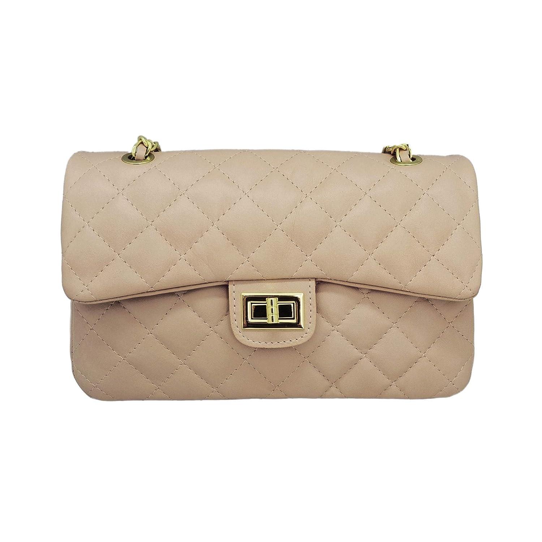 #MYITALIANBAG COSTANZA Schulter Clutch Handtasche, groß e gesteppte Leder Handtasche mit Licht Gold Kette Leder Schulter, glattes weiches Leder glattes weiches Leder (dunkelgrü n) 71093DARKGREEN