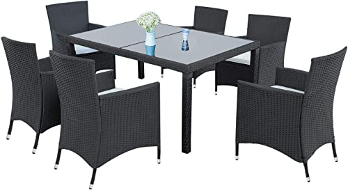 LZ LEISURE ZONE 7 Piece Patio Furniture Dining Set Outdoor Garden Wicker Rattan Dining Table Chairs Conversation Set