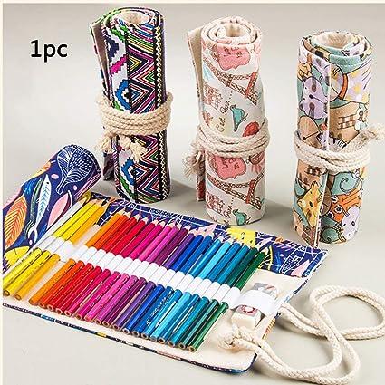 Estuche enrollable para lápices, 36/48/72 agujeros, lápices de colores artísticos para dibujar con estuche de lona portátil enrollable de gran capacidad 36 holes: Amazon.es: Oficina y papelería