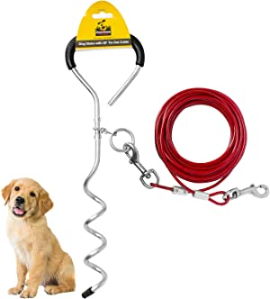 Downtown Pet Supply Premium Steel Spiral Dog Tie - Out Stake with Cable (10ft, 20ft, 30ft)