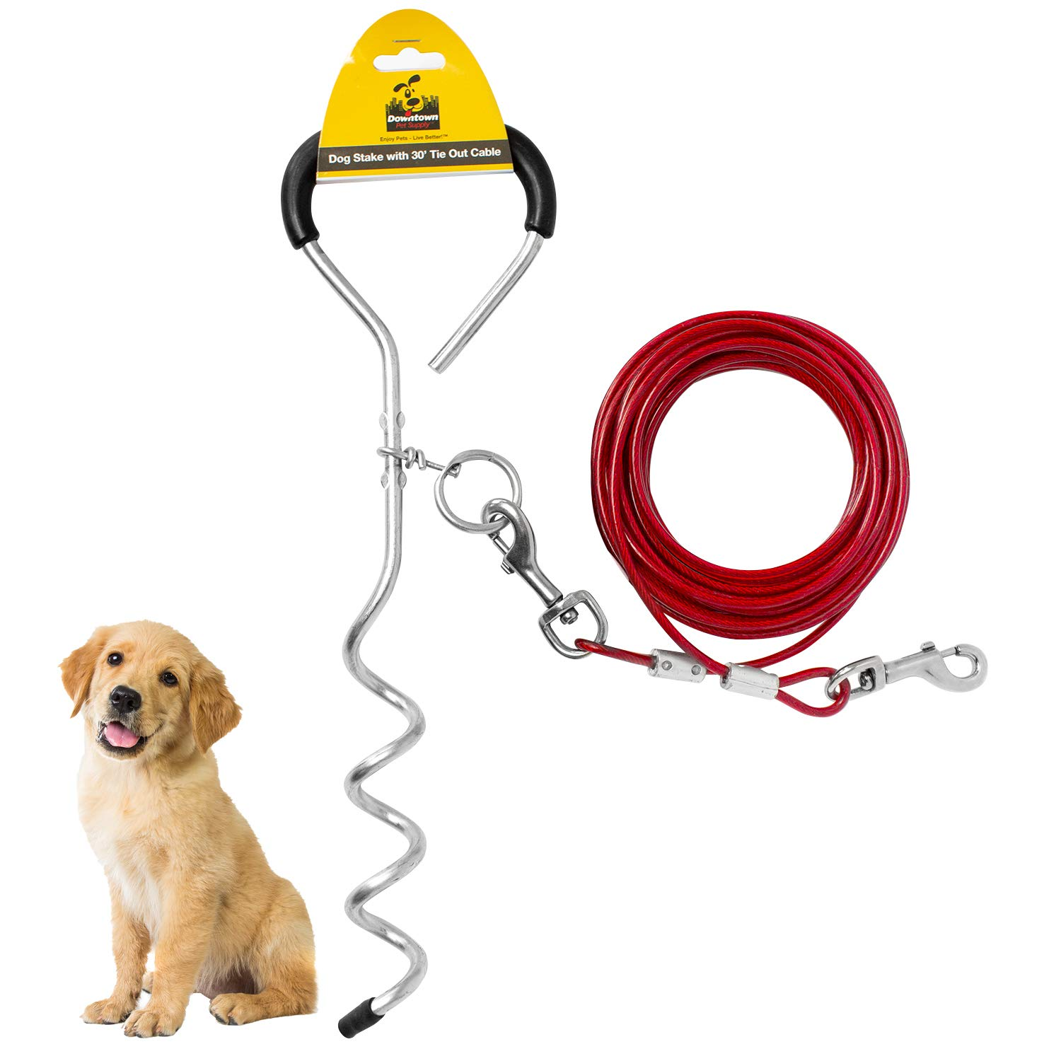 Downtown Pet Supply New Premium Steel Spiral Tie Out Stake with 20 Foot Cable by Downtown Pet Supply