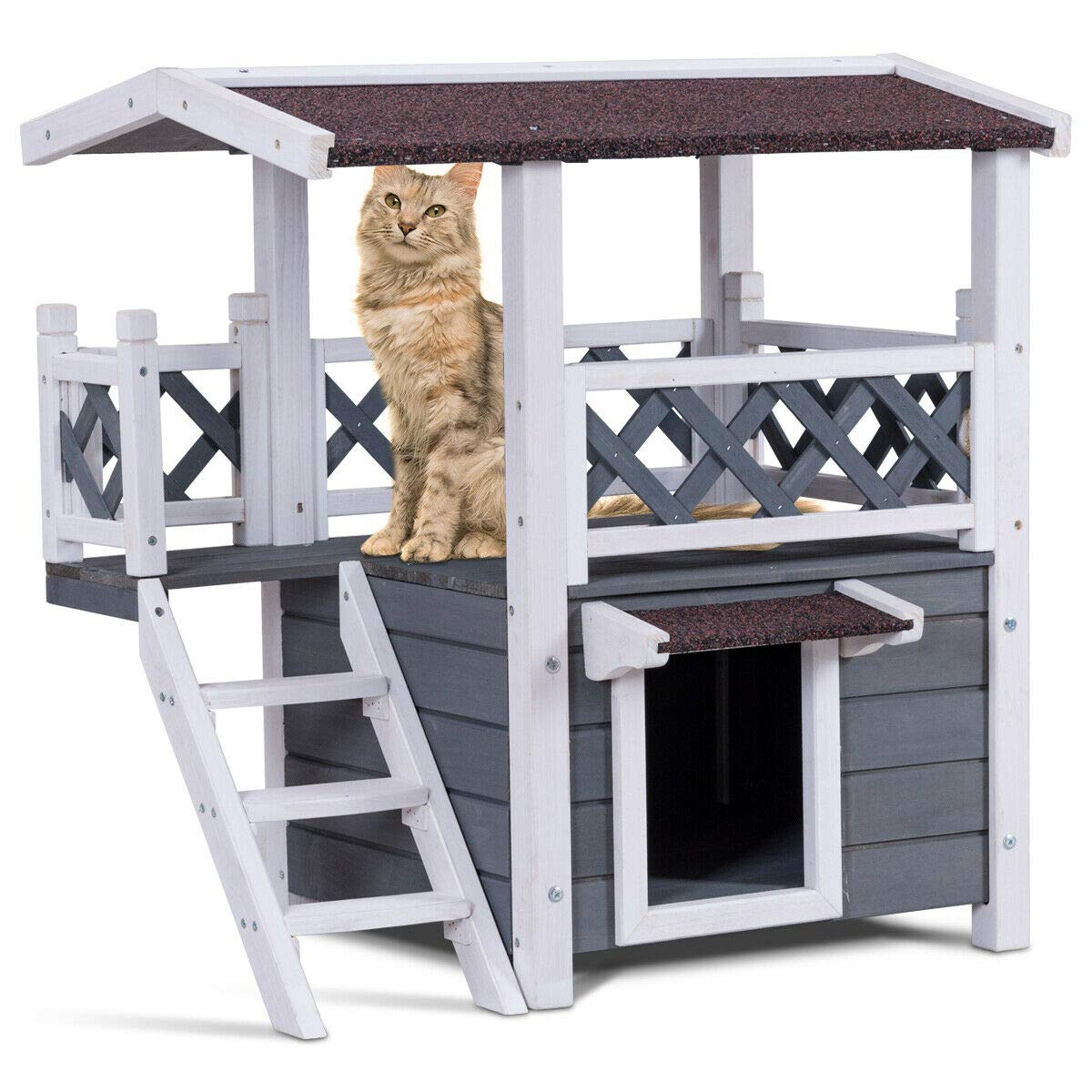 Tangkula Cat House 2 Story Wood Outdoor Weatherproof Pet Kitten Condo Shelter by Tangkula