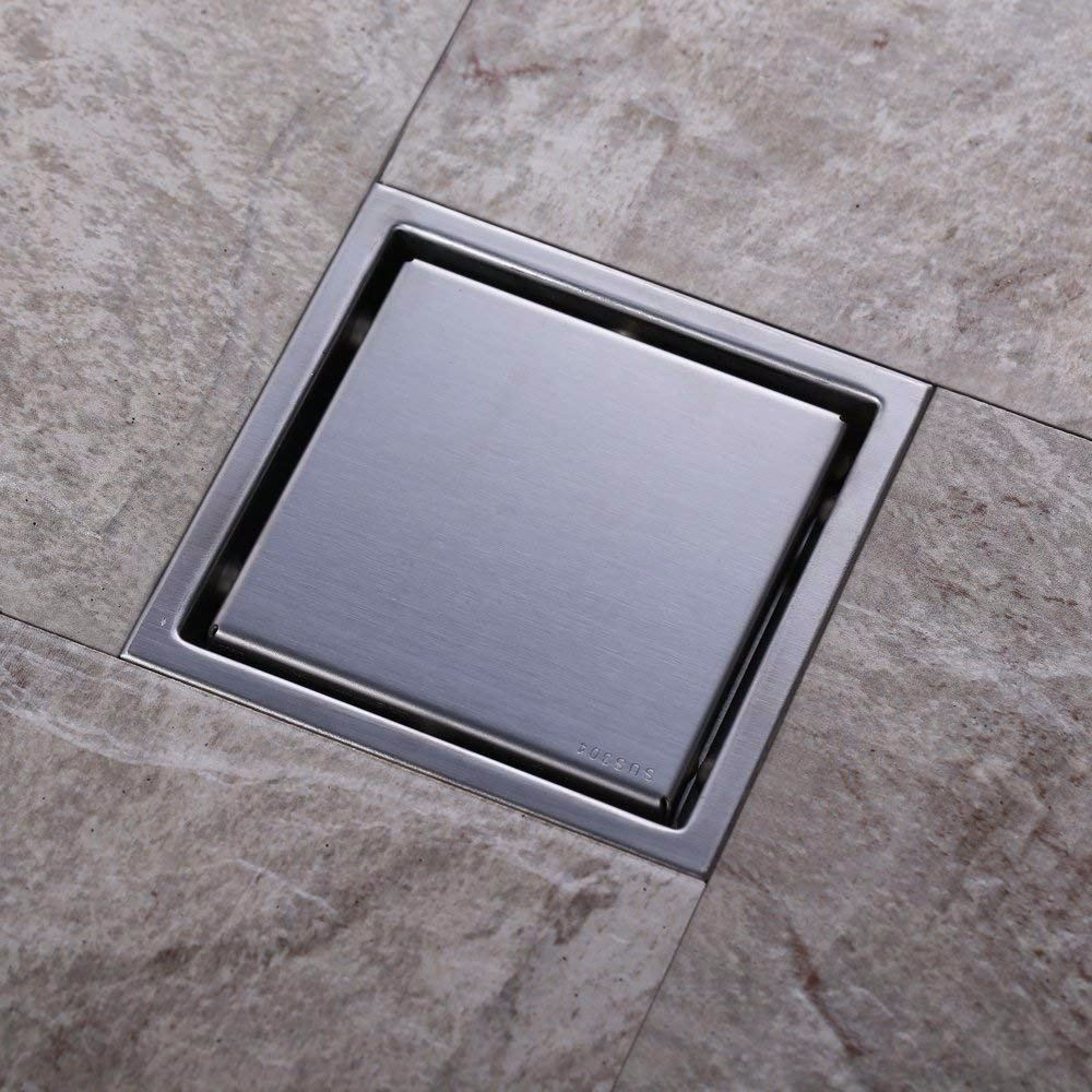 150 x 150 mm Chrome Stainless Steel Floor Drain Shower Drain with Removable Cover Wet Room Drainage,A WANG Floor drain
