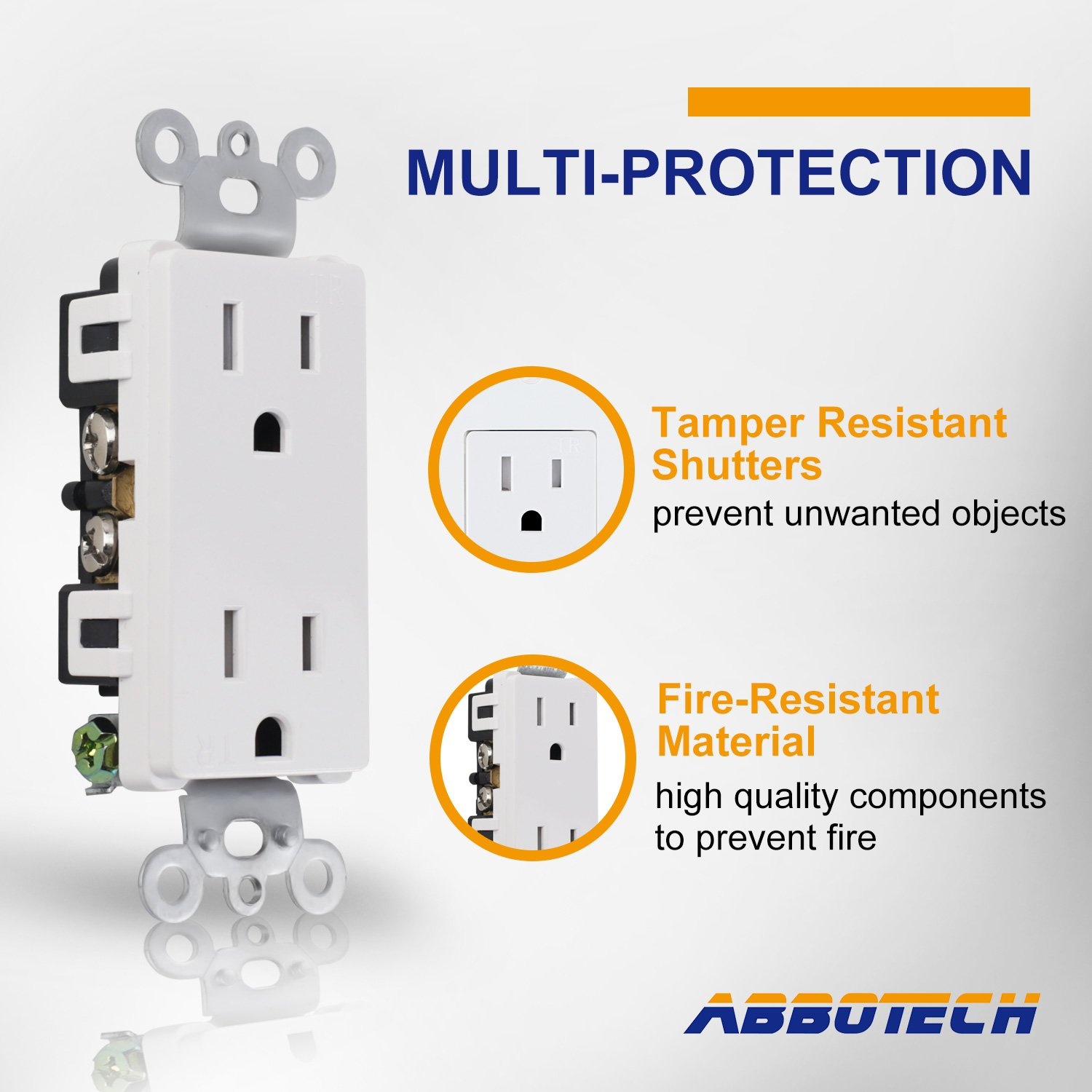 AbboTech Light Switch With Wall Plates Included,Decorative ON//OFF Wall Switch Single Pole,15A,120-270V,Residential/&Commercial Grade,10 Pack,UL Listed,White