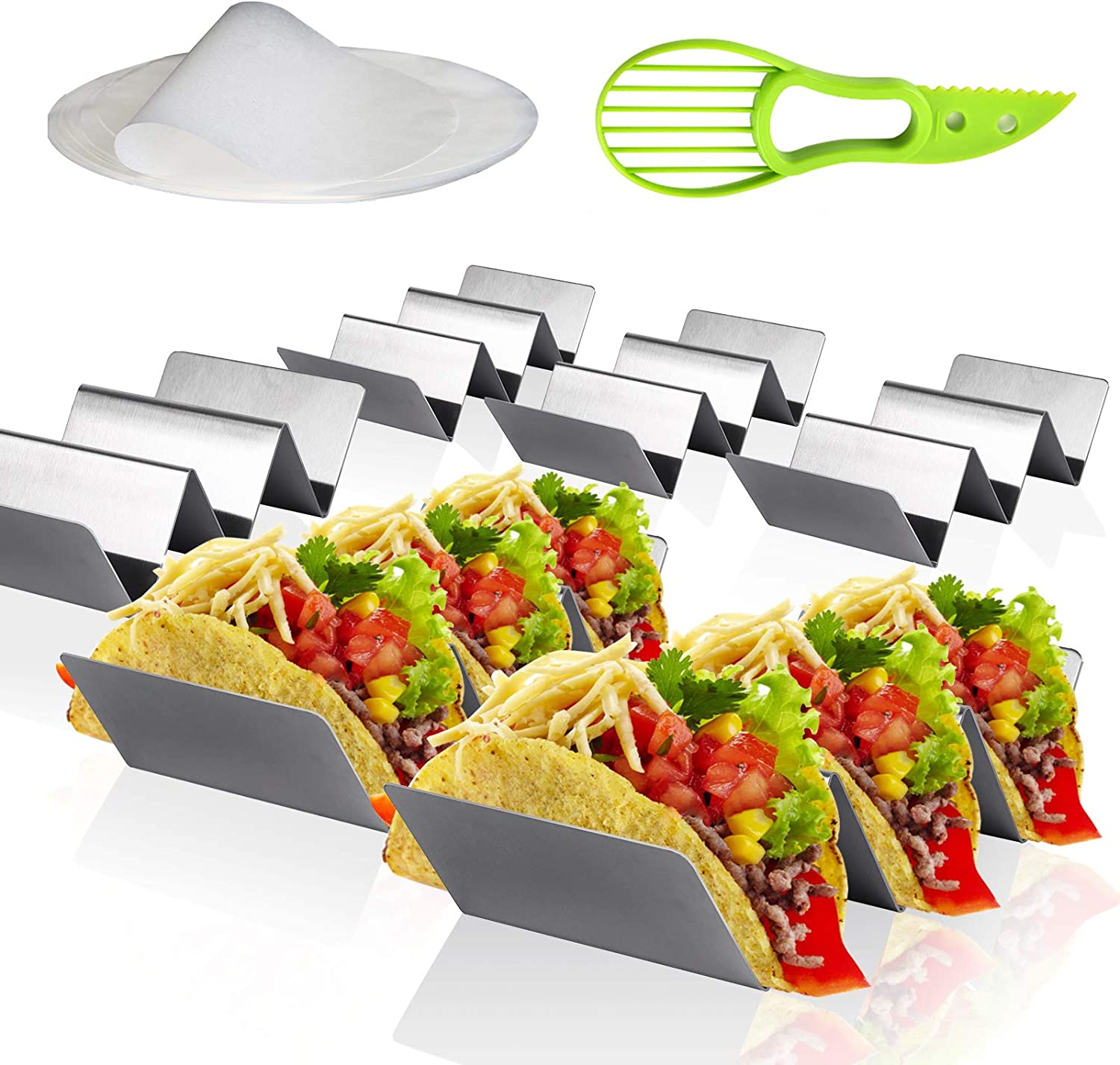 Glomio Taco Holder Stand - Set of 6 Large Taco Tray Food Grade Stainless Steel Racks Hold up 2-3 Tacos Grilling Rack for Tortilla/Burrito/Hotdog, Oven Dishwasher Grill Save
