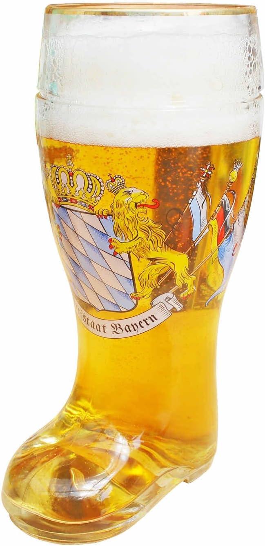 XXL Verre /à bi/ère en forme de bottes bottes Chopes de bi/ère avec rebord Dor/é Freistaat Bayern avec Lion et drapeaux 1L