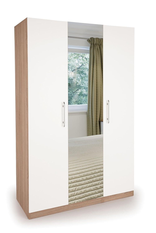 Richmond Modern Bedroom Furniture Set in Matt White Oak (1 Door Wardrobe 2 Drawers) H: 187 W: 40 D: 52cm(H151019/H151034/H151046-X-3-42-hyde) POLAND