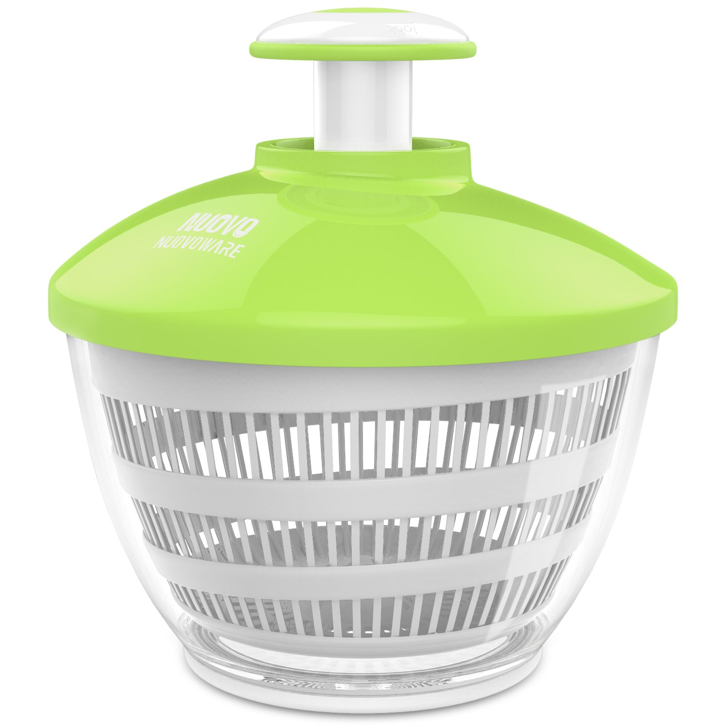 Nuovoware Salad Spinner, Premium Salad Spinner with 3.6 Quart Large Bowl, Paddle Mechanism, Dry Off & Drain Lettuce and Vegetable With Ease and Faster Food Prep, White & Green