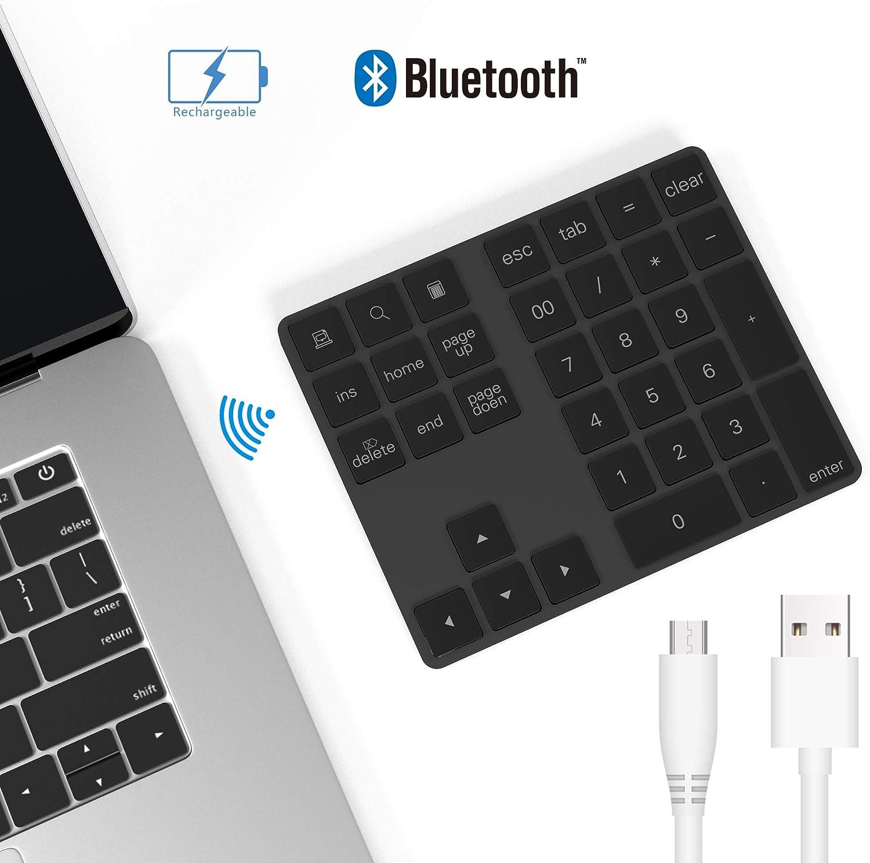 Teclado numérico Bluetooth, Bawanfa Aluminio Teclado Numérico Inalámbrico Recargable 34 Teclas Entrada Datos Teclado Numérico Compatible con Windows/Android/iOS/OS(Black)