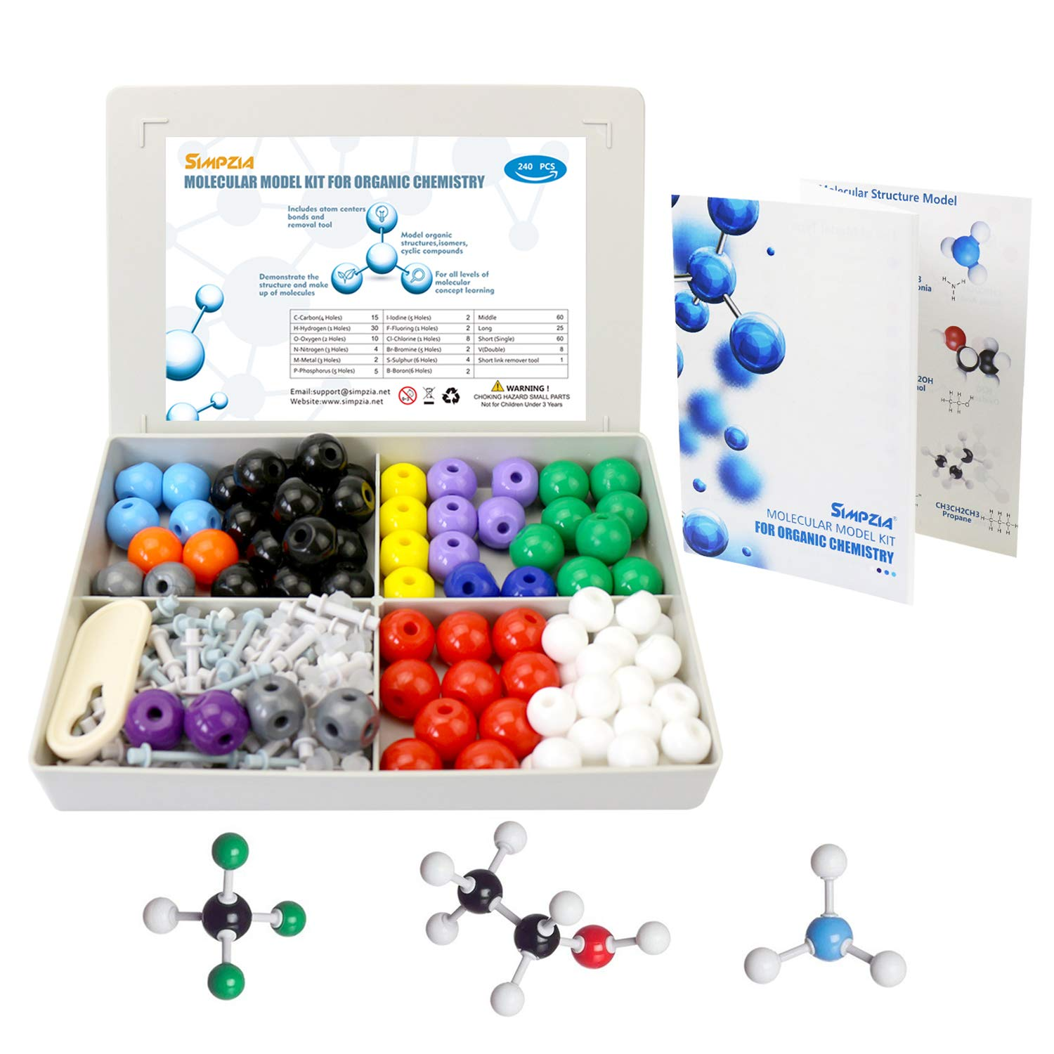 SIMPZIA 240 Pcs Organic Chemistry Model Kit  Molecular Model kit, Chemistry Organic and Inorganic Modeling Students Set with Manual & Atoms, Bonds for Students, Teachers & Scientists by SIMPZIA