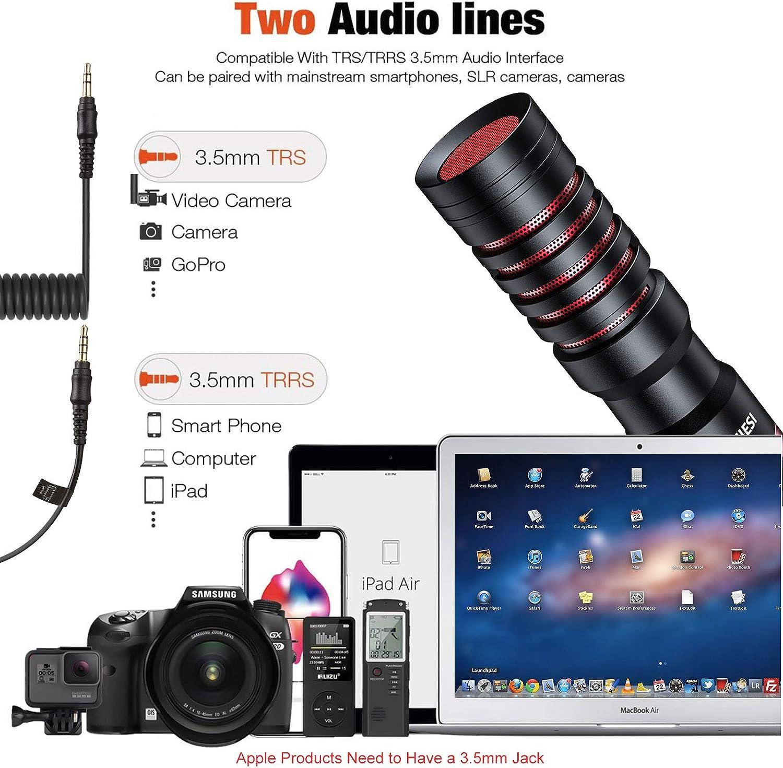 Tendak Kamera Mikrofon Mobiles Mini-Mikrofon Kamera Mini-Mikrofon Camera Microphone Ausgestattet mit Anti-Schock-Halterung Geeignet f/ür Kamera Smartphone Live-/Übertragung,Vlog YouTube-Interview