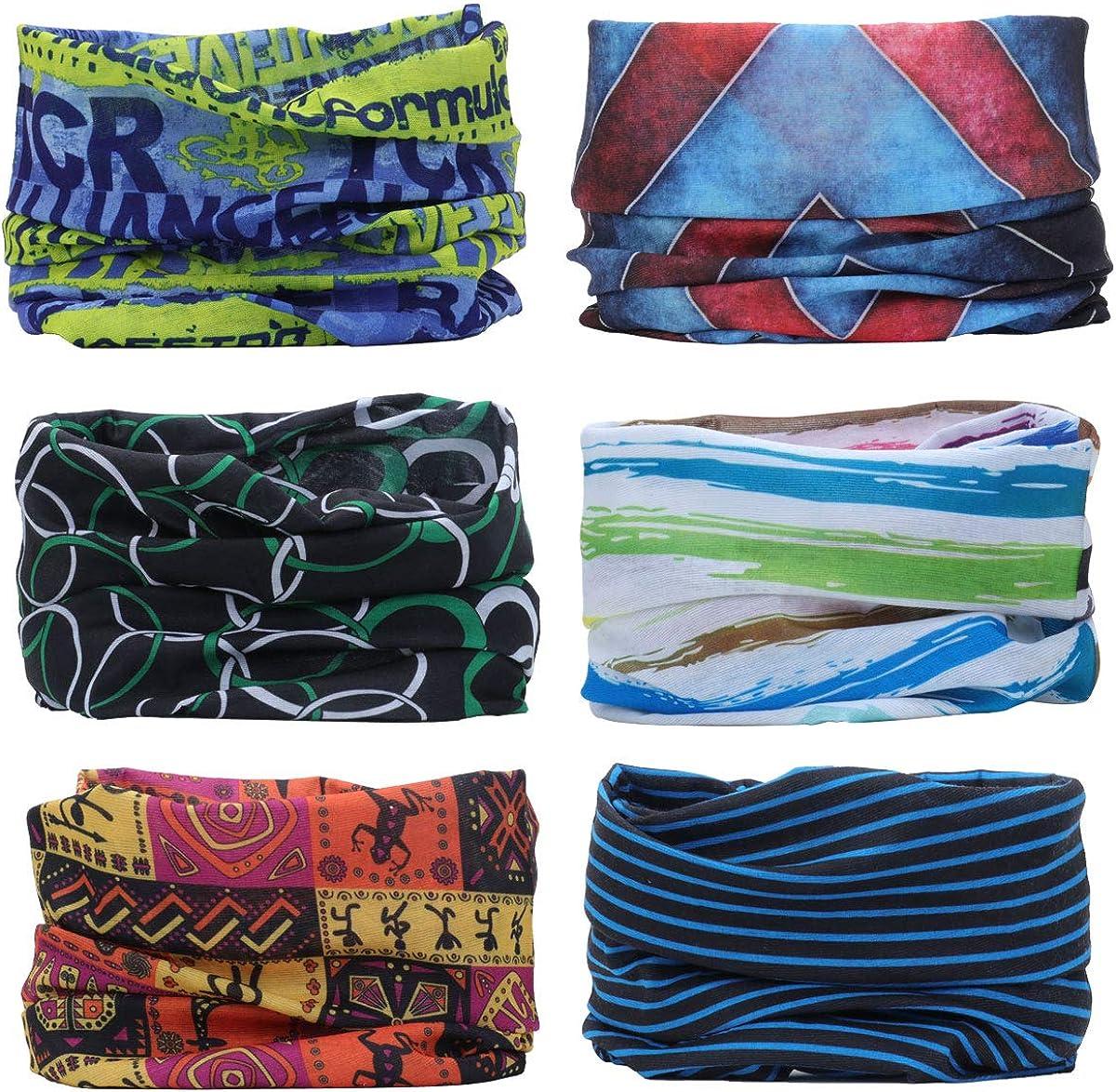 YouGa Headwear Headbands 6PCS Multifunctional Bandana Wide Seamless Magic Scarf Tube Scarf UV Insect Shield Sport Men Women Unisex