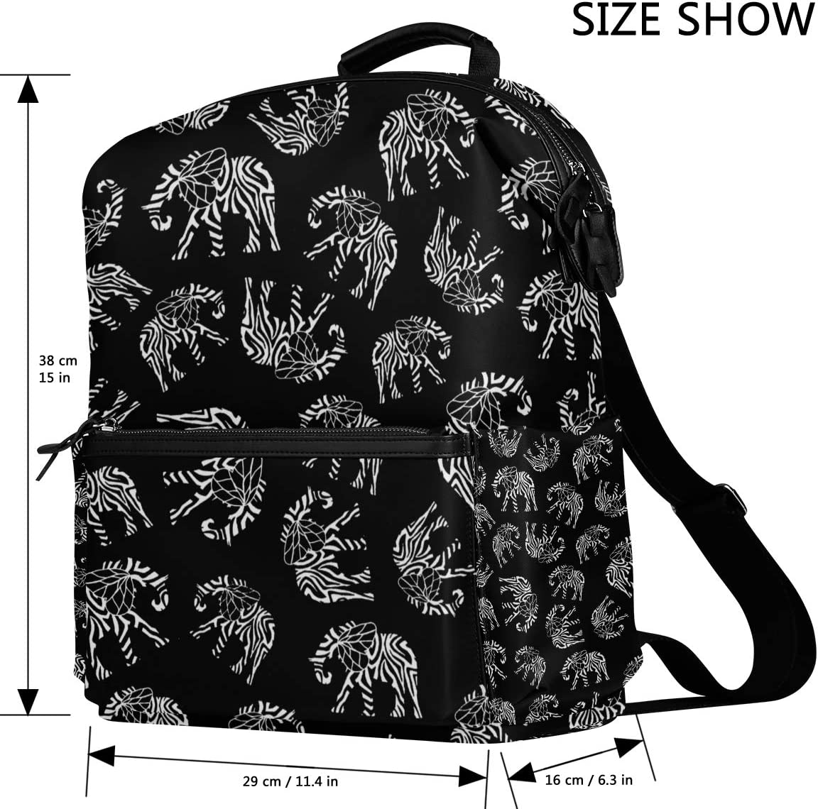 Backpack Rucksack Travel Daypack Stripe Elephant Book Bag Casual Travel Waterproof