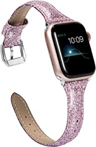 Wearlizer Rose Pink Thin Glitter Leather Compatible with Apple Watch Bands 38mm 40mm Womens iWatch SE Slim Wristband Glistening Strap Replacement Bracelet with Silver Metal Clasp Series 6 5 4 3 2 1