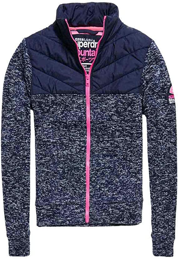 Superdry SD Storm Hybrid Track Sweat Zip Femme Bleu Taille L