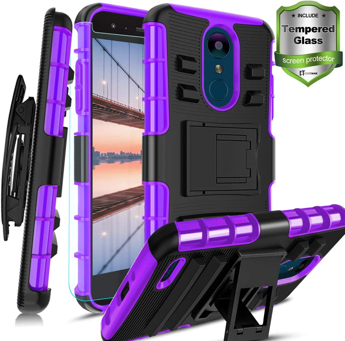 LG Aristo 2/LG Rebel 4 Case/Aristo 2 Plus/Phoenix 4/Zone 4/K8(2018)/Fortune 2/Risio 3/Tribute Dynasty/K8+/Rebel 4 LTE W [Tempered Glass Screen Protector] Built-in Kickstand Belt Clip Holster, Purple