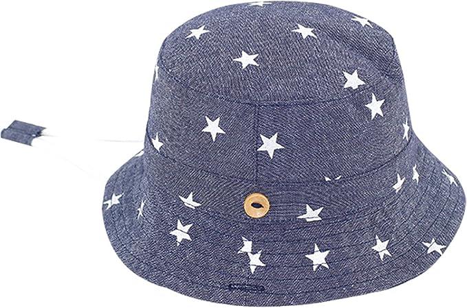 Sombrero Pescador para Beb/és Ni/ños 3 Meses-6 A/ños Vaquero Suave Gorro de Sol con ala Infantil para Playa Verano Happy Cherry