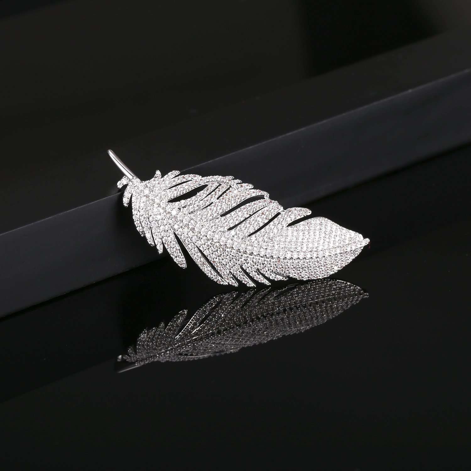 LILIE&WHITE White Gold Plated Cubic Zirconia Paved Feather Brooch Pin Mother's Day Gift Leaf Shape by LILIE&WHITE (Image #4)