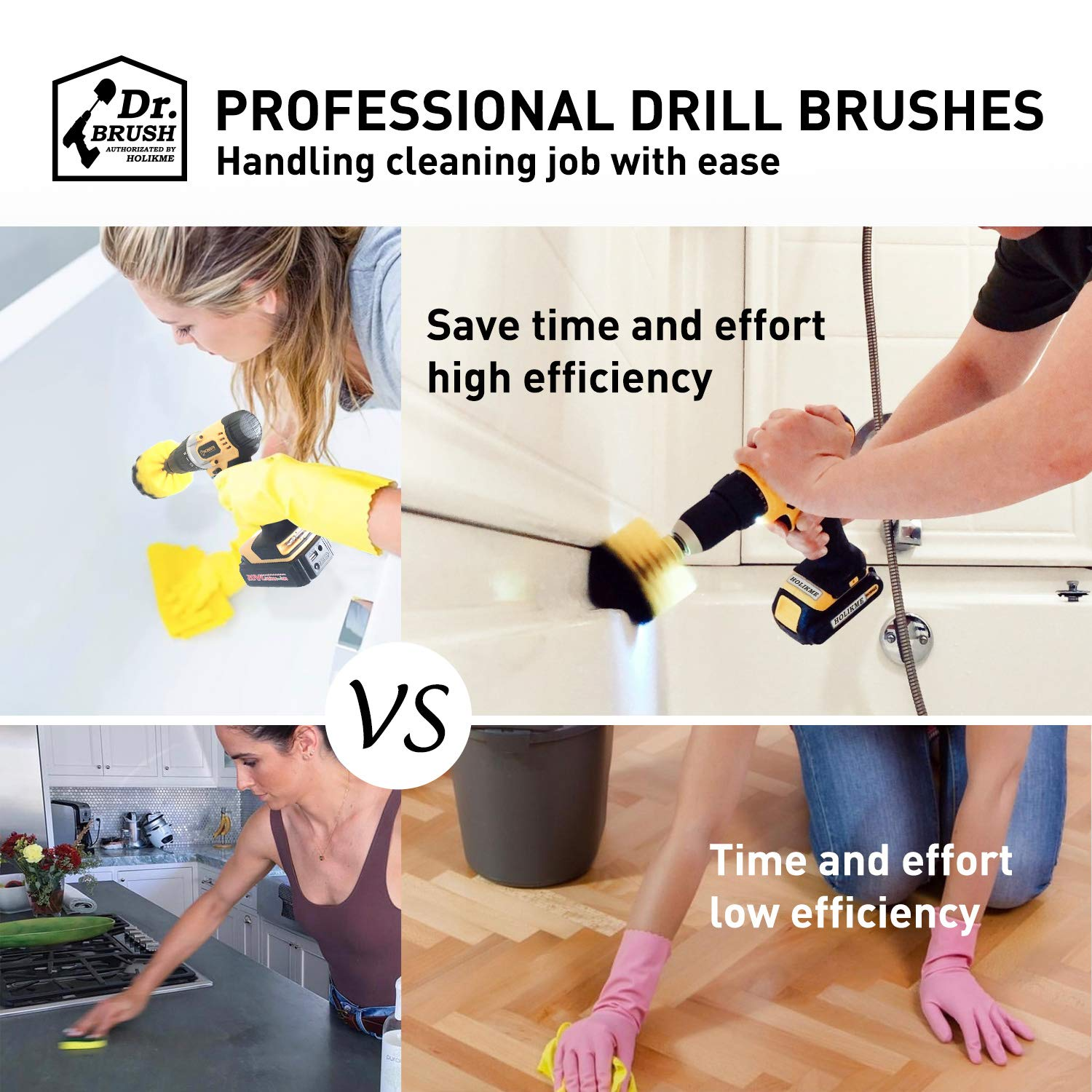 Holikme 14Piece Drill Brush Attachments Set, Scrub Pads & Sponge, Power Scrubber Brush with Extend Long Attachment All purpose Clean for Grout, Tiles, Sinks, Bathtub, Bathroom, Kitchen & Automobile by Holikme (Image #2)