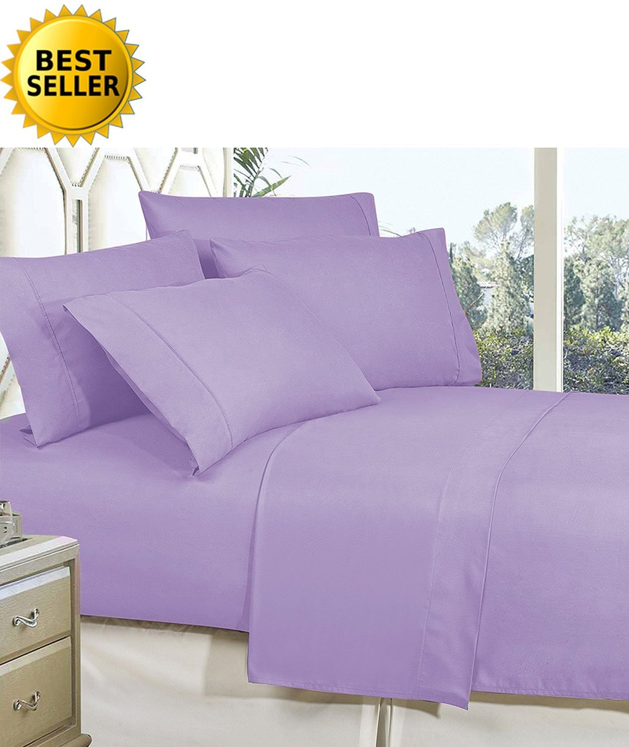 Quality Super Soft Fade Resistant 4-Piece Bed Sheet Set, Deep Pocket, Full Lavender