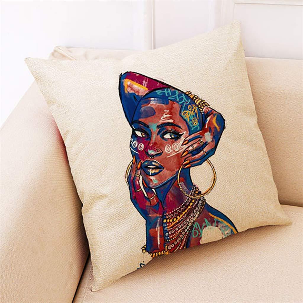 MAXimum Mamum Housses de Coussin Zipp/é Carr/ées taie doreiller en Lin Femmes Africaines Imprim/ées D/écoration pour Canap/é Lit Voiture Maison 45x45cm A