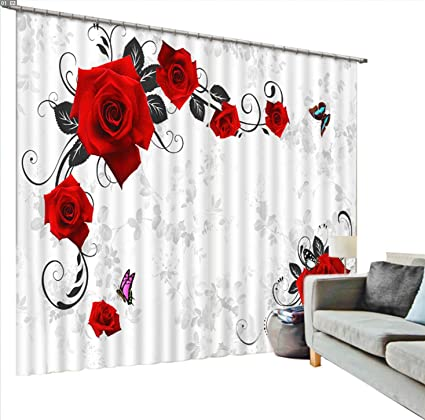 Amazon Com Newrara Red Roses And Butterfly Printing Blackout 3d