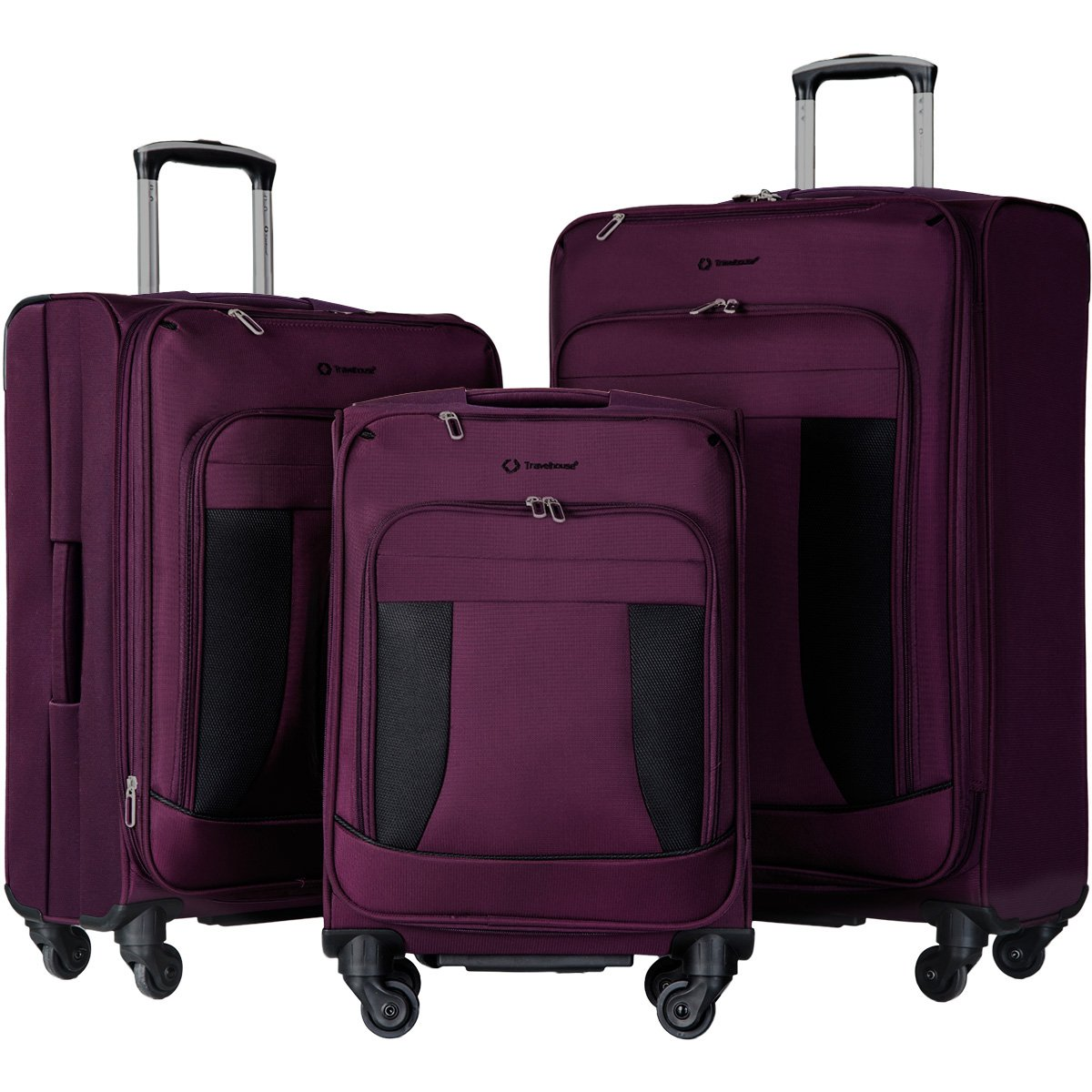 Travelhouse 3 Piece Luggage Set Softshell Deluxe Expandable Spinner Suitcase(Purple and Black) by Merax