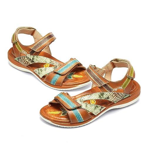587da395e9 gracosy Sandalias Cuero Verano Mujer Estilo Bohemia Chanclas Zapatos para  Mujer de Dedo Sandalias Talla Grande