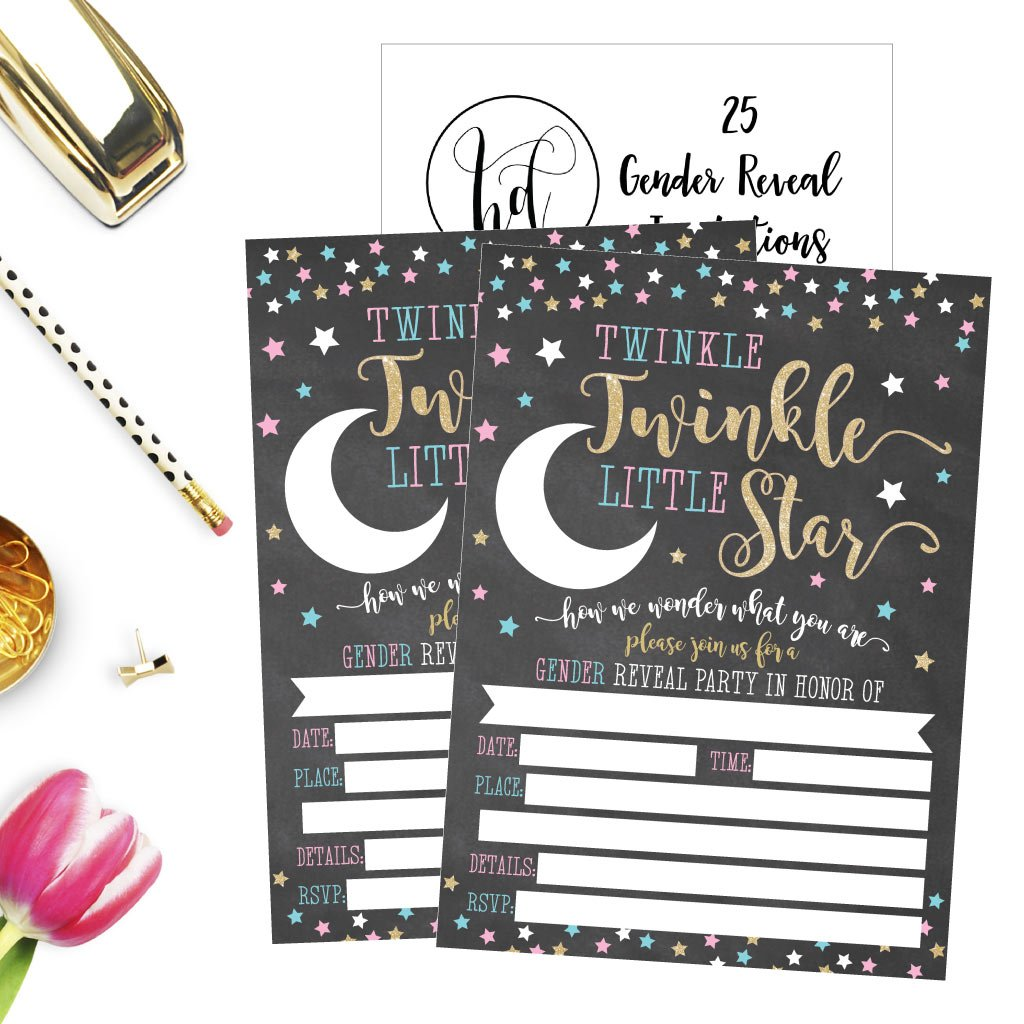 25 Twinkle Little Star Gender Reveal Baby Shower Party Invitation Cards Gold and Black He or She For Gender Neutral Unisex Invites Guess If It's a Boy or Girl Sprinkle Fill In The Blank Printable Pack by Hadley Designs (Image #4)