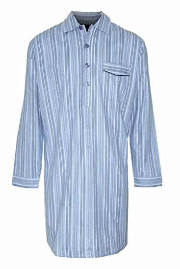 c2e94fba7b New Mens CHAMPION Striped Brushed Cotton Knee Length Long sleeved Button  Front Nightshirt Nightwear Sleep or