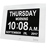 "3 Alarm Options - 8"" Digital Calendar Alarm Day Clock with Extra Large Non-Abbreviated Day & Month SDC008 by Svinz - 2 Color Display Settings"