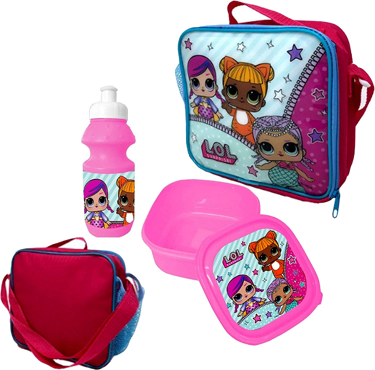LOL Official Lunchbag Lunch Bag Case with Sandwich Box and Drinking Bottle Set for Kids 3pc