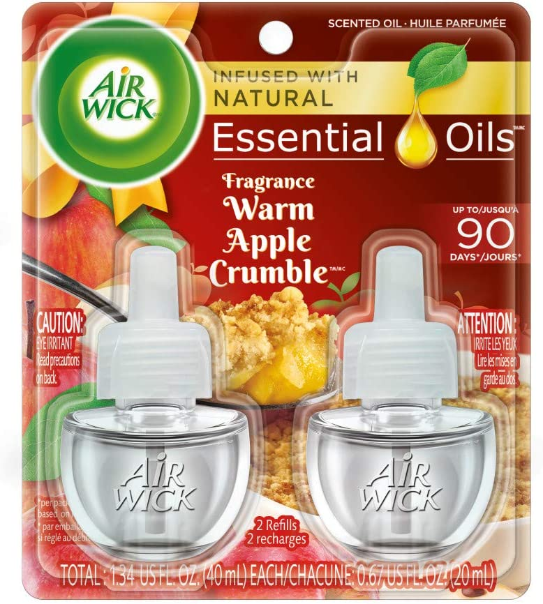 Air Wick plug in Scented Oil 2 Refills, Warm Apple Crumble, Holiday scent, Holiday spray, (2x0.67oz), Essential Oils, Air Freshener, Packaging May Vary