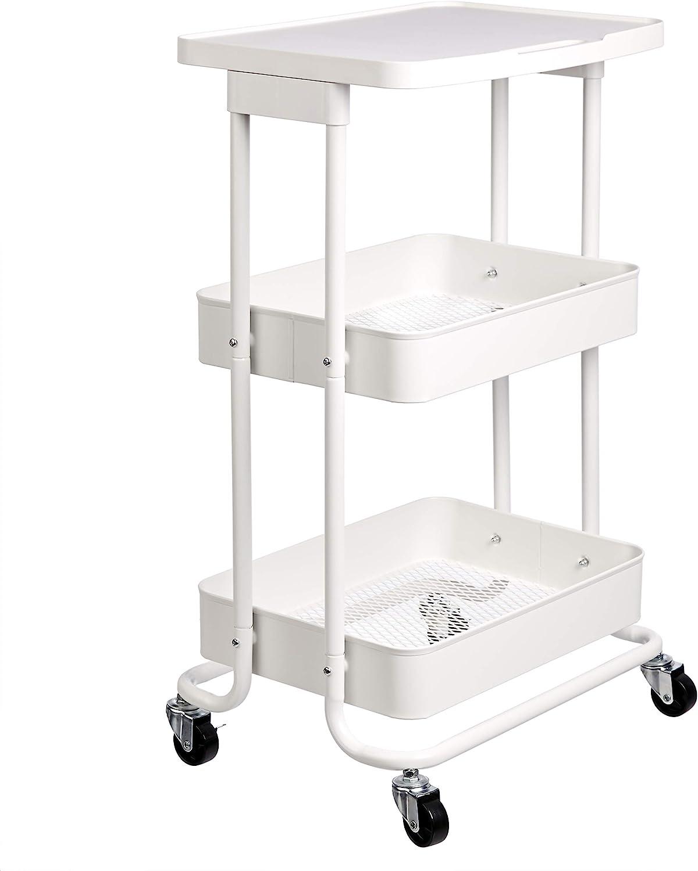 AmazonBasics - Carrito de cocina, de metal, de dos alturas, con repisa, blanco