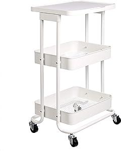 AmazonBasics 2-Tier Metal Kitchen/Utility Cart with Shelf, White