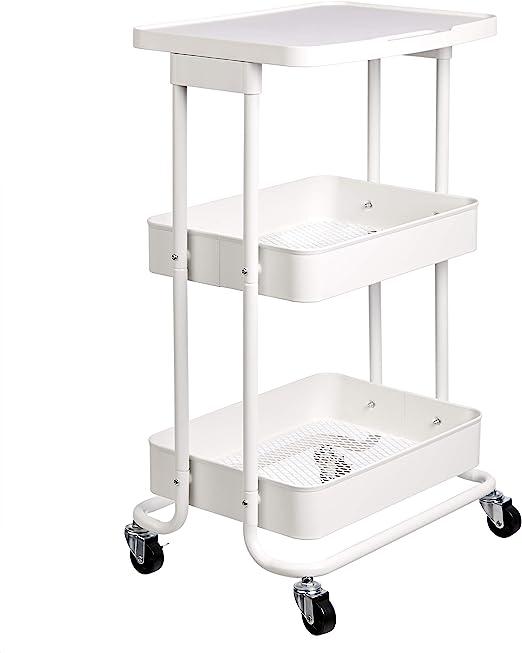Amazon Basics 2-Tier Metal Kitchen/Utility Cart with Shelf, White