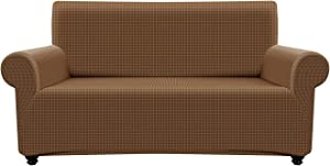 """Deep Dream Lattice Polar Fleece Stretch Sofa Cover, Sofa Cover for 2 Cushion Couch Furniture Protector, Washable Loveseat Slipcover, Furniture Couch Covers for Living Room (55""""-72"""", Chocolate)"""
