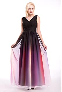 Womens Ombre Formal Evening Gowns Floor Length V-neck Chiffon Prom Dresses