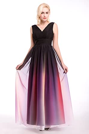 Dressystar Womens Ombre Chiffon Evening Dresses Long Prom Gown Assorted Necklines Size 30W C