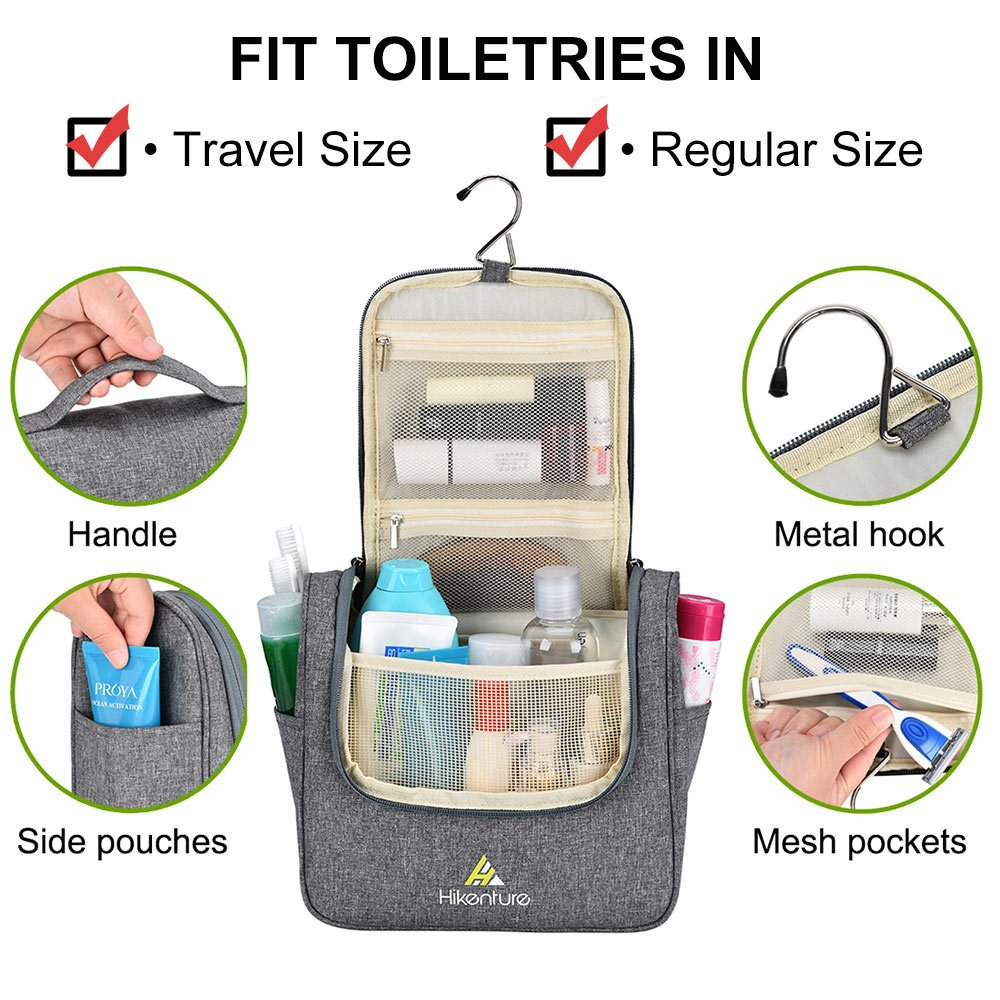 Travel Hanging Toiletry Bag by Hikenture | Cosmetics, Makeup and Toiletries Organizer | Compact Bathroom Storage | TSA Friendly | Home, Gym, Airplane, Hotel, Car Use(Grey) by Hikenture (Image #3)